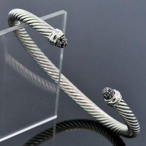 David Y Black Diamond Cuff  Bangle 5mm Cable